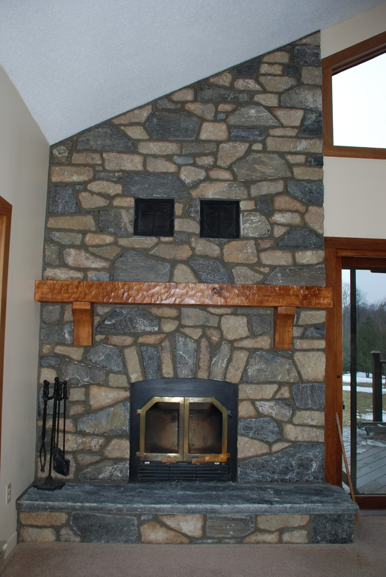 Elite Blue Granite Brown Blend Fireplace After