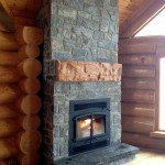 Elite Blue Granite Squared logcabin fireplace