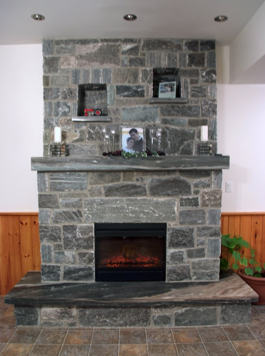 Elite Blue Polished Hearth & Mantle