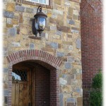 Rockwood Farmhouse Brown & Blue Squared entrance