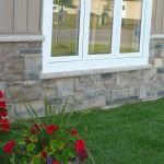 brown and black limestone ledgerock blend house front foundation