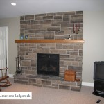 brown limestone ledgerock fireplace