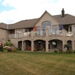 brown limestone ledgerock house weathered back