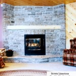 brown limestone tumbled ledgerock fireplace