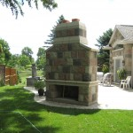 century brick outdoor fireplace back
