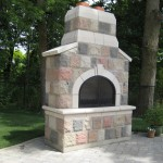 century brick outdoor fireplace patio