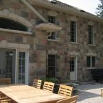 century brick outdoor fireplace patio house