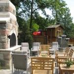 century brick outdoor patio fireplace