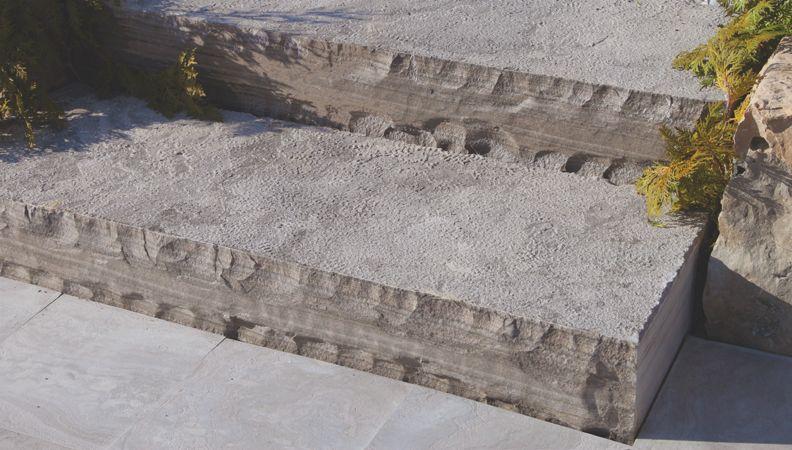 Charcoal Limestone Bush Hammered Steps