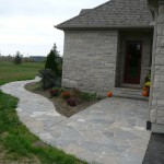 charcoal limestone front entrance path random flagstone