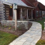 charcoal limestone random flag walkway