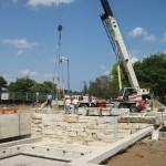 crane help at building waterfall