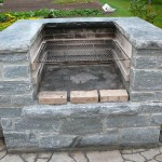 elite blue granite charcoal bbq front view