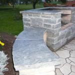 elite blue granite charcoal bbq side