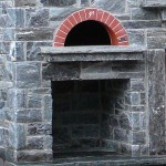 elite blue granite outdoor pizza oven and woodbox