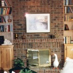 fireplace brick red black