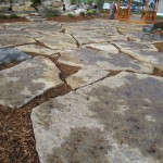 harvest gold limestone oversized flagstone patio