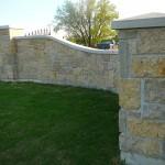harvest gold limestone squared front gates