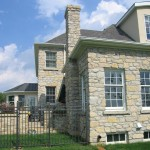 harvest gold limestone tumbled squared & ledgerock house back