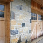 harvest gold limestone with granite house closeup
