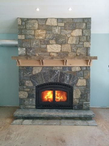 harvest gold with granite tumbled squared fireplace