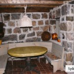 interior stone feildstone dining room wall