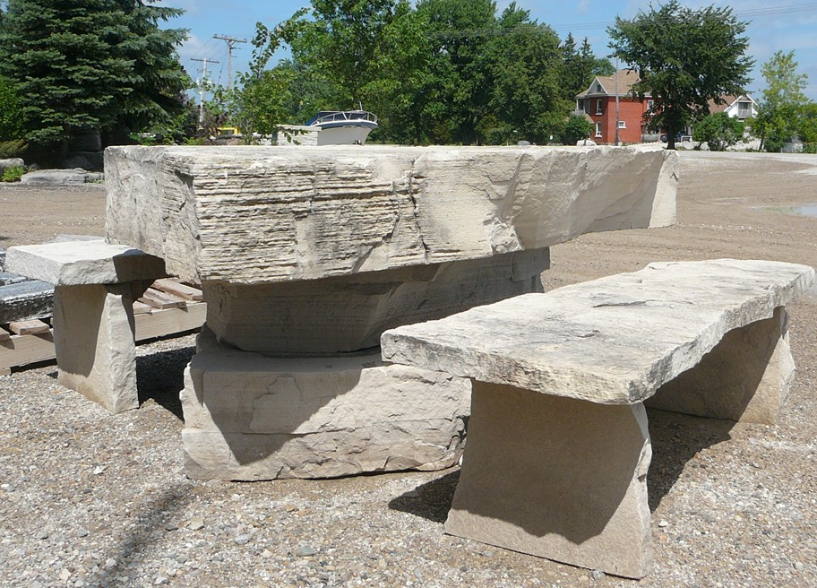 limestone random slab table and benches