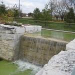limestone sawn waterfall top view