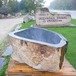 natural stone tub end view