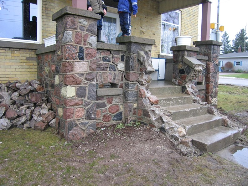 Fieldstone Porch Before Restoration