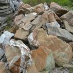 rusty green marble boulders