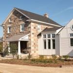 split feildstone squared house front view