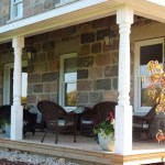 split fieldstone squared porch