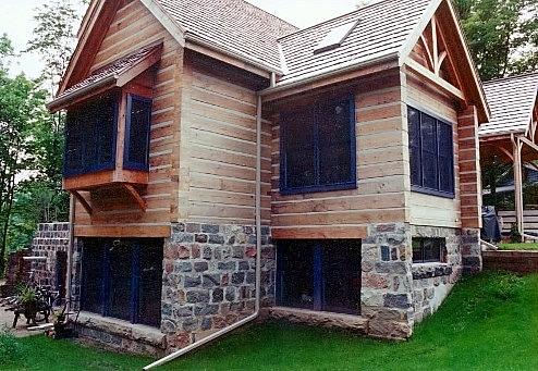 squared feildstone foundation log chinking