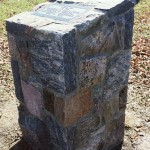 squared split fieldstone memorial