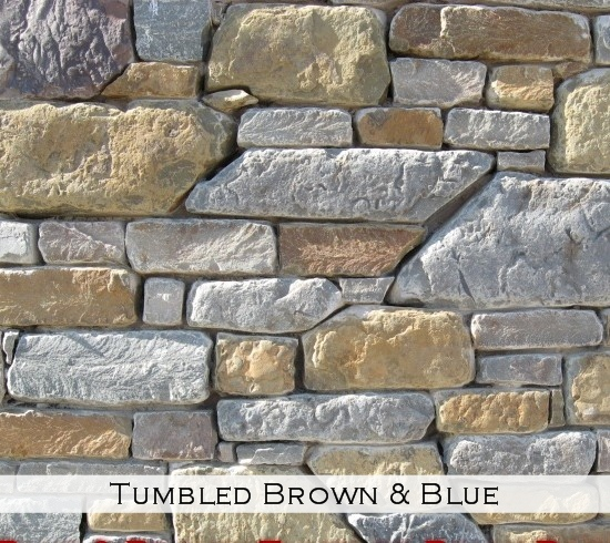 tumbled brown and blue
